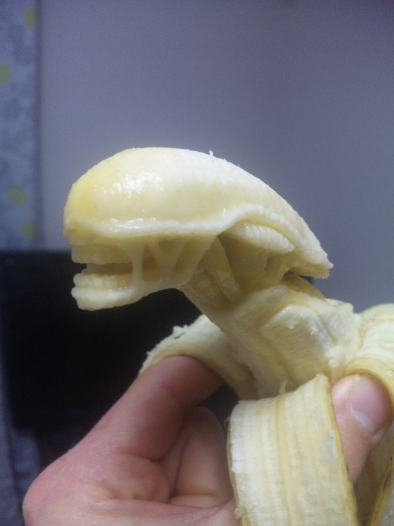 Alien carved out of a banana