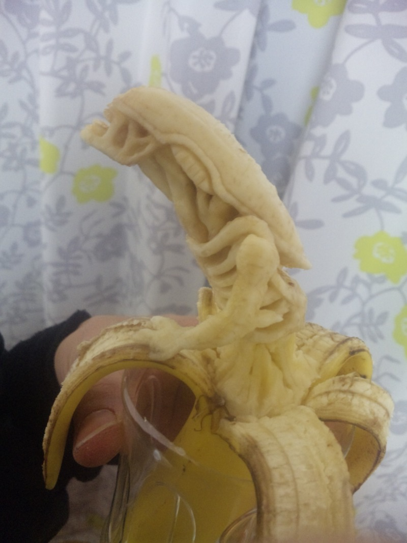 Banana sculpted into an alien