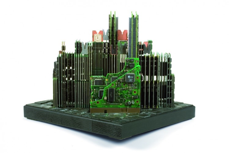 Cityscape made of old computer parts