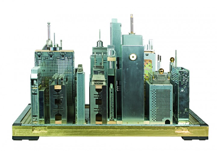 Cityscape made of old computer components