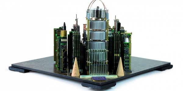 Cityscape made of scrap computer parts