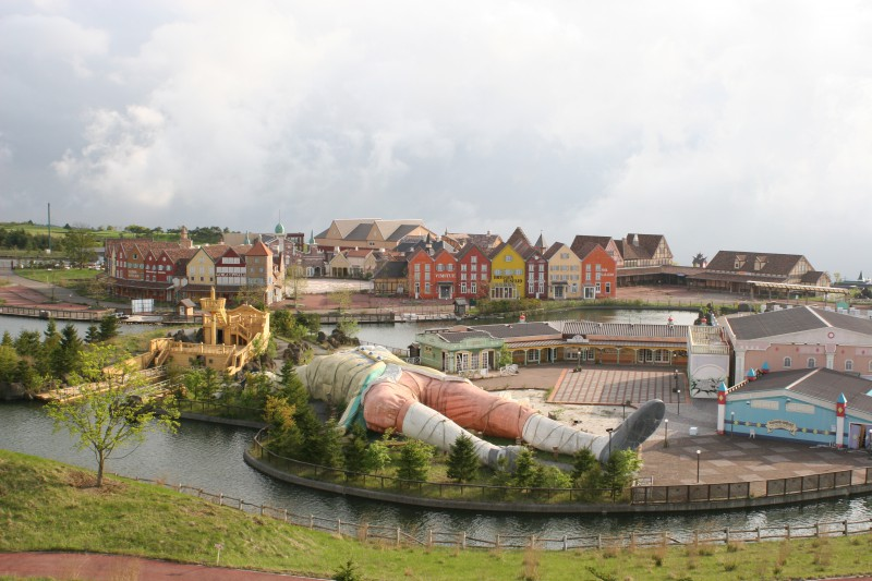 Large model of Gulliver in an old theme park