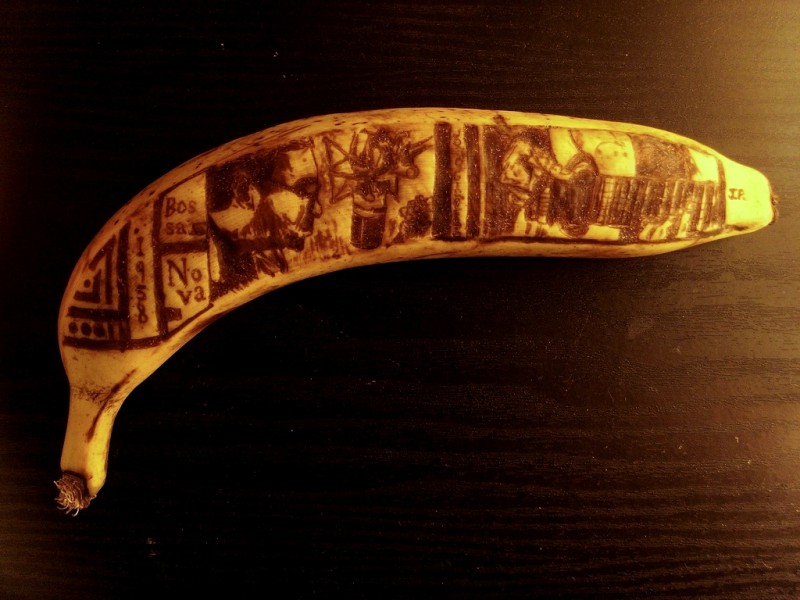 Musicians carved into a banana