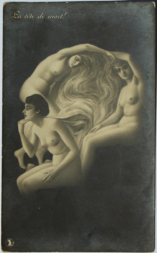 Pencil drawing of three naked women that also takes the form of a skull