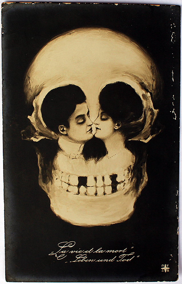An ambiguous image of two lovers kissing and also a skull