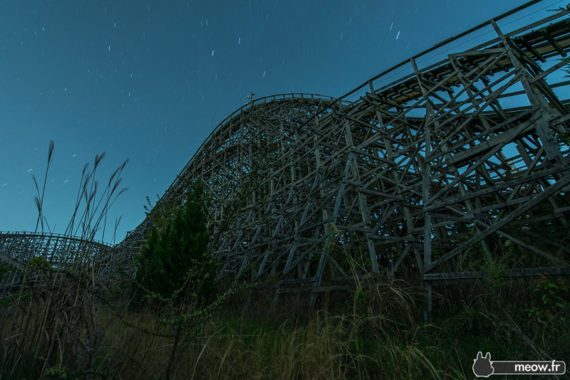 Old wooden rollercoaster at night