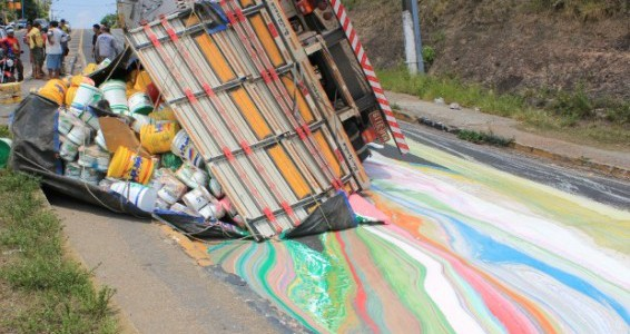 Crashed Paint Truck