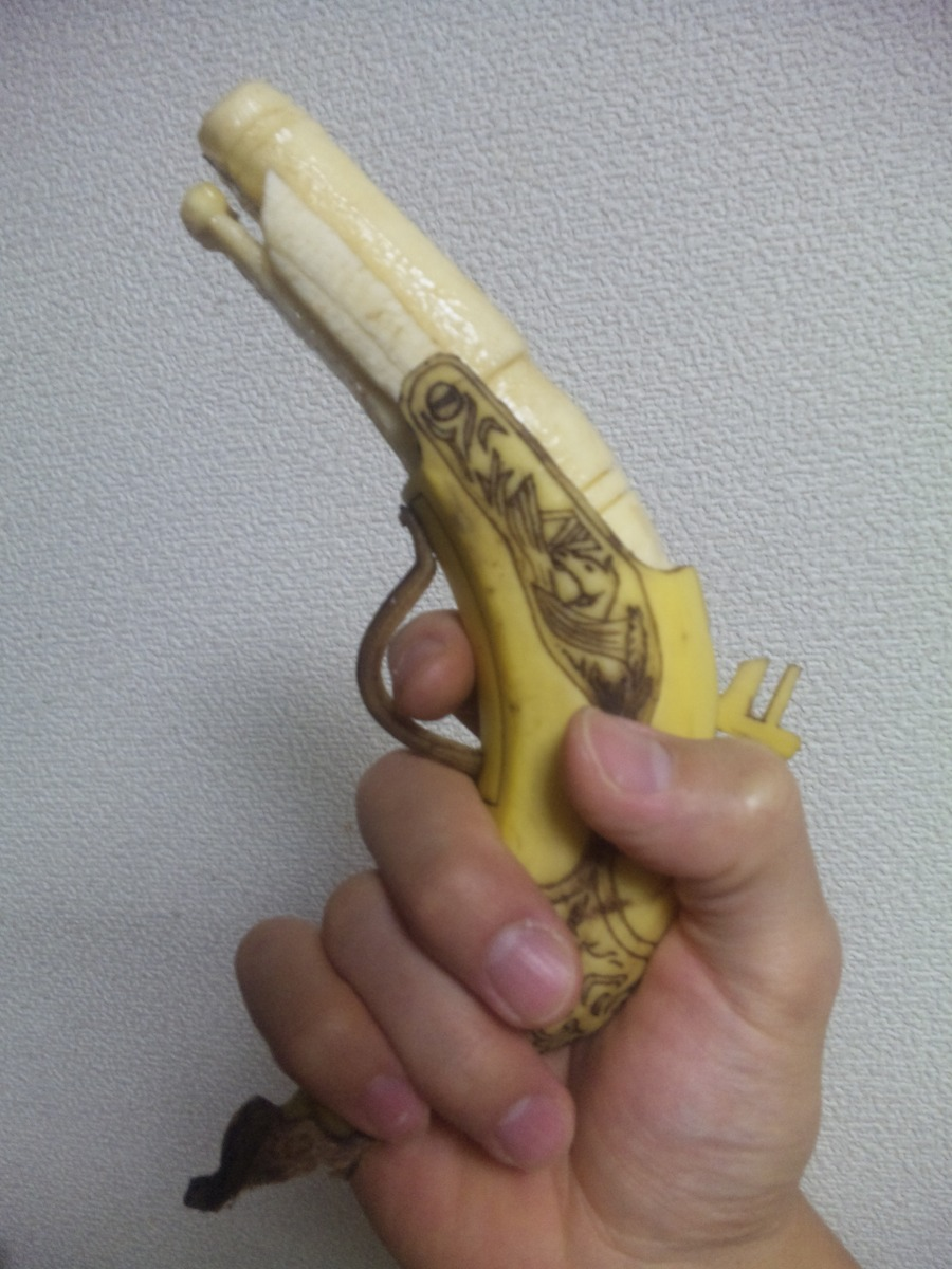Pistol carved out of a banana