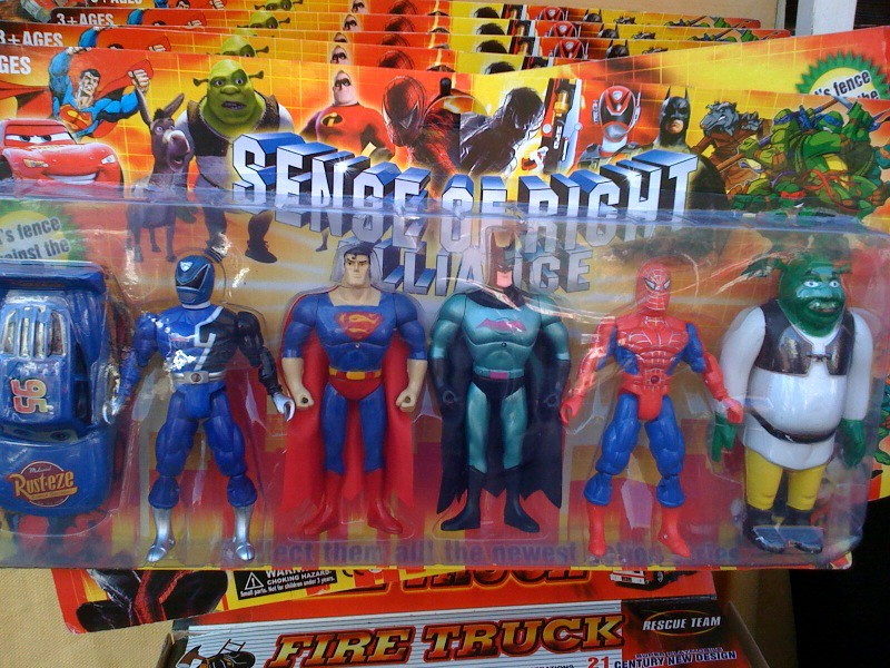 Counterfeit superhero toys