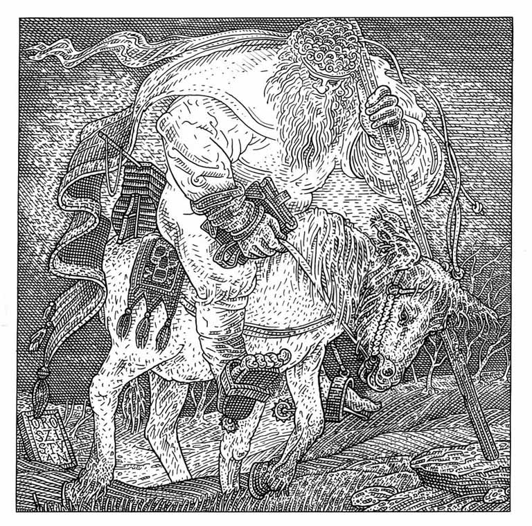 An optical illusion that looks like both a man on a horse and a skull