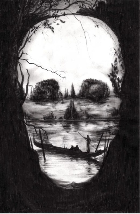 An ambiguous image that looks like both a boat on a river and a skull