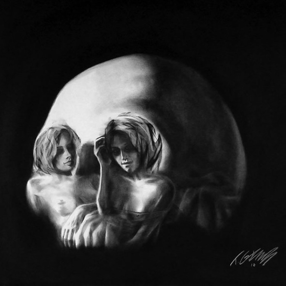 An optical illusion that looks both like two women and a skull