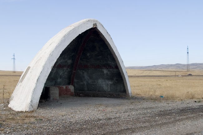 Arch shaped Soviet bus shelter