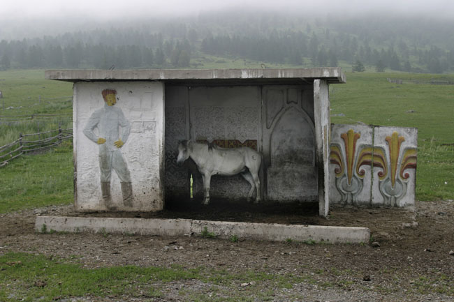 Painted Soviet bus shelter