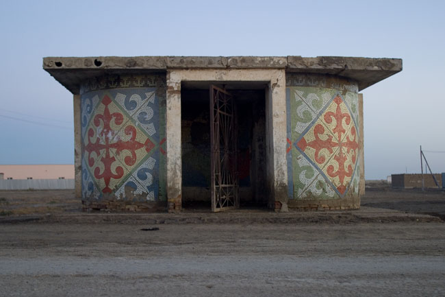 Decorated Soviet bus shelter