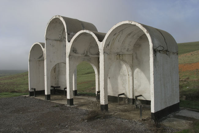 Arched Soviet bus shelter