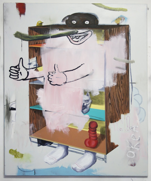 Painting of a grotesque man fused with banal furniture