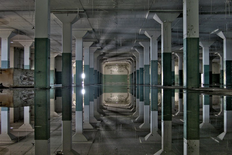 Wet floor reflecting like a mirror