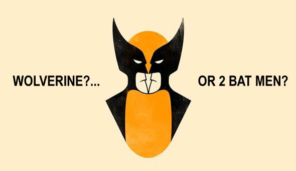 Optical illusion of Wolverine and Batmen