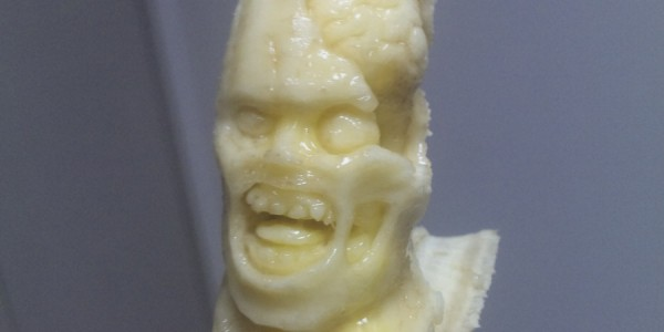 Banana carved to look like a zombie