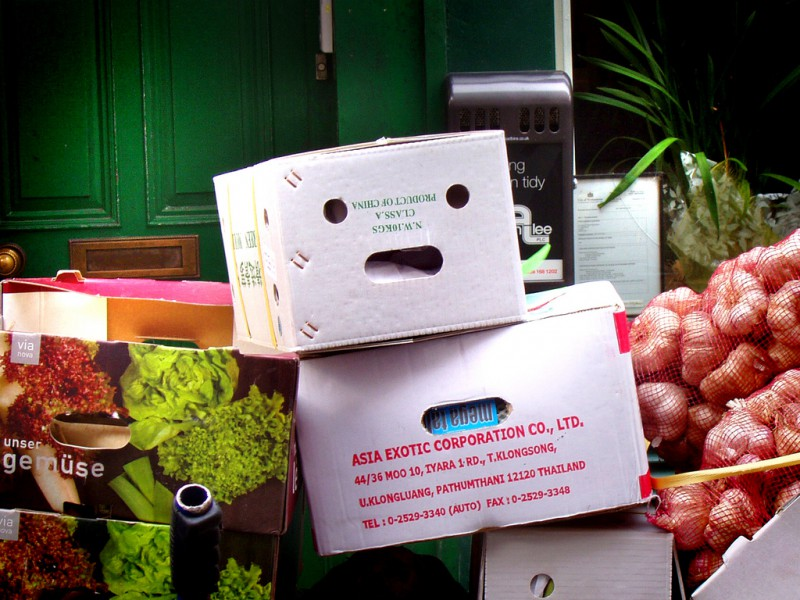 Veg box with a face and a somewhat despairing expression
