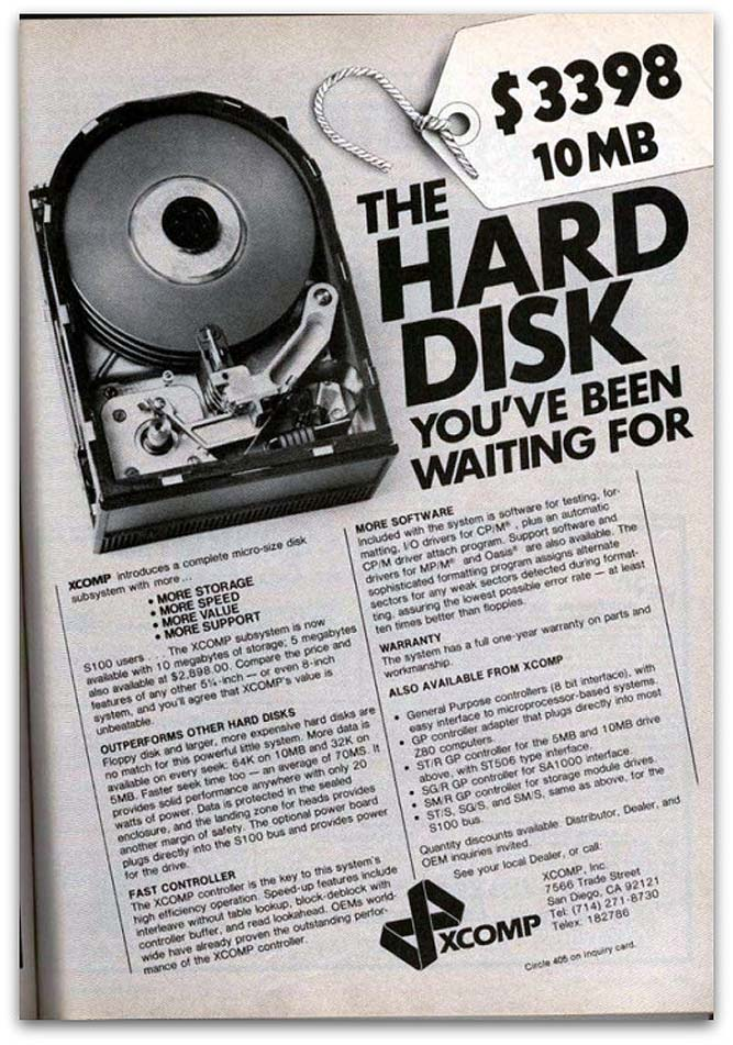 Old hard disk advertisment