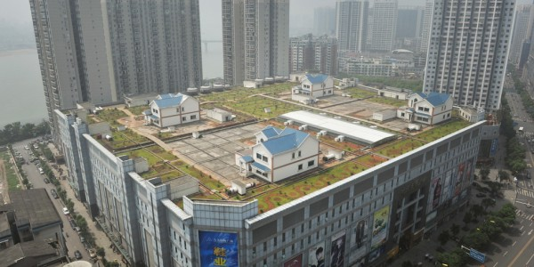 Houses on the roof of a large Chinese shopping mall