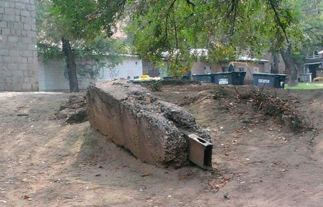 Large USB drive shaped concrete block