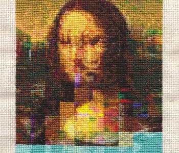 Cross stiched rendering of The Mona Lisa with glitches