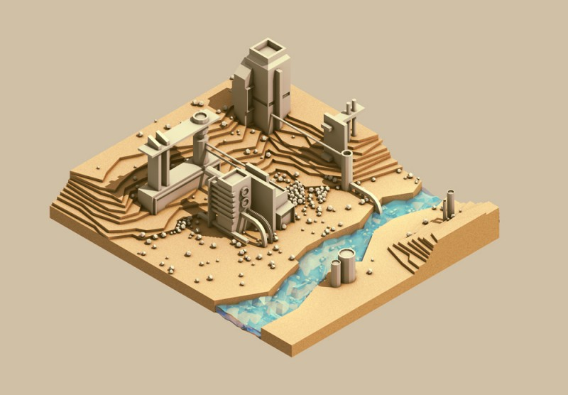Isometric quarry illustration