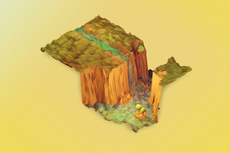 Isometric waterfall illustration