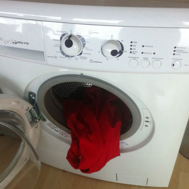 Washing machine that looks like it has a face