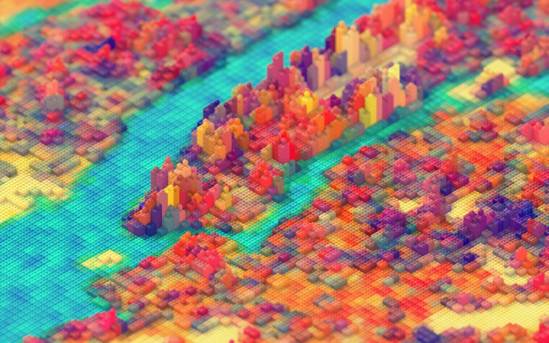 New York City rendered in LEGO