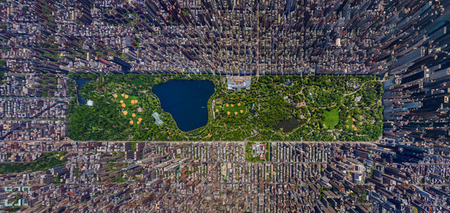 Aerial panorama of Central Park