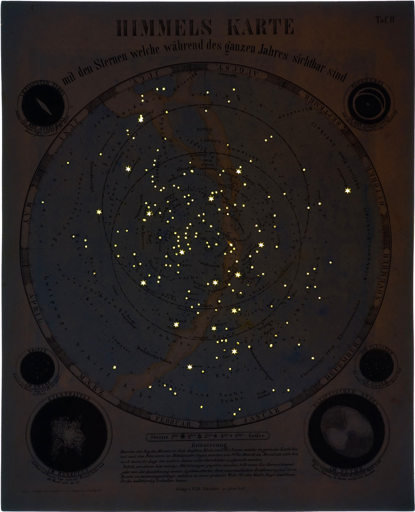 Illustration of constellations glowing in the dark
