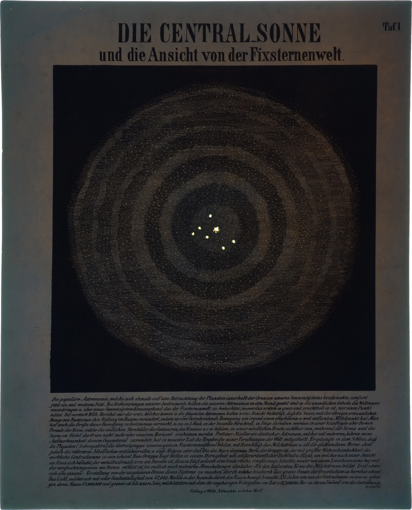 Illustration of glowing stars from Astronomic Picture Atlas