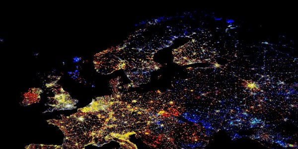 Satellite image of Europe at night