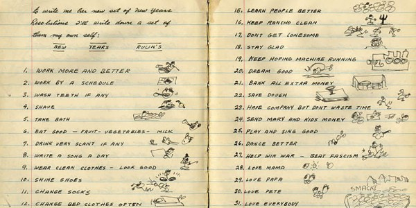 Woody Guthrie's 1942 list of new year's resolutions