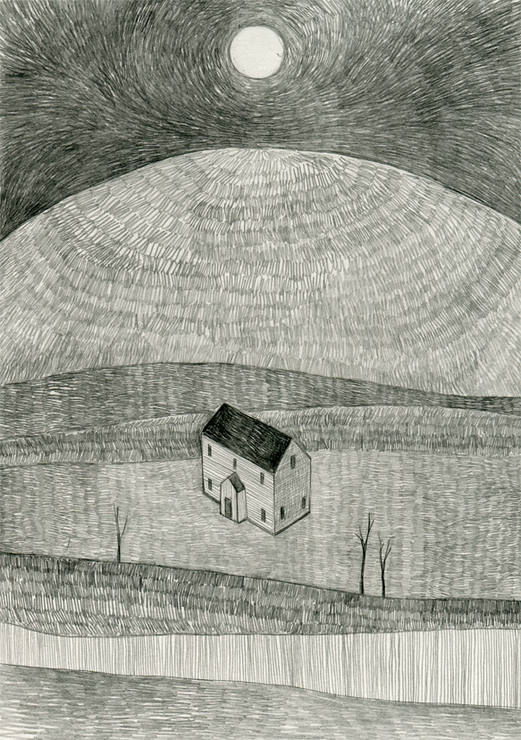 Illustration of The Whateley House from The Dunwich Horror by HP Lovecraft