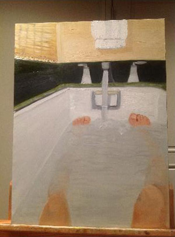 Painting by George W Bush of his feet in the bathtub