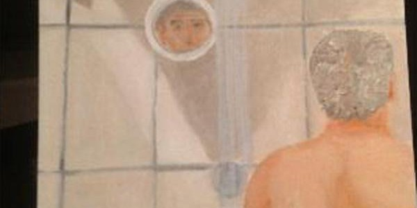 Painting by George W Bush of him in the shower
