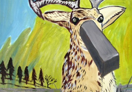 Painting called Deer And Mercury by Haritz Guisasola