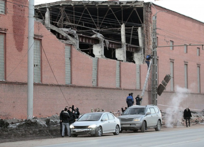 Factory damaged by the Russian meteorite
