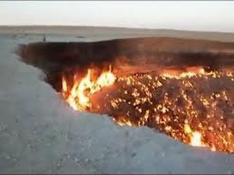 Flaming crater made by the Russian meteorite
