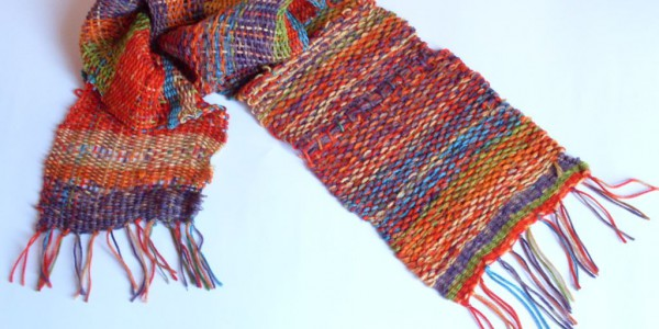 Scarf knitted by a LEGO loom machine