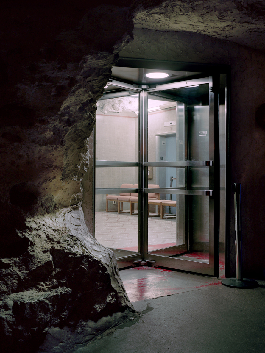 Revolving door in a cave