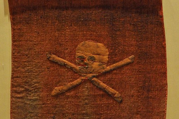 Original 18th Century red jolly roger pirate flag