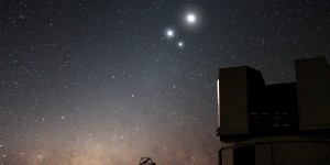 Conjunction in December 2009 showing the Moon, Venus and Jupiter. Captured by the VLT (Very Large Telescope) observatory, Chile