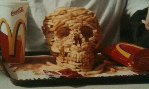 Skull made out of french fries