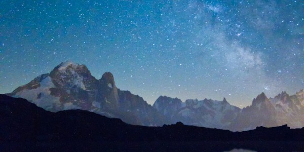Stars over The Green Needle mountain in the French Alps
